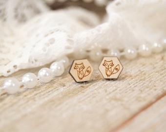 Fox Wooden Stud Earrings | Fox | Laser Cut | Illustration | Hand Drawn | Handmade Jewelry | Earrings