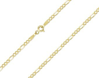 """14K Solid Yellow Gold Custom Figaro Choker Necklace Chain 1.5-3.0mm 11-15"""" - Polished Link"""