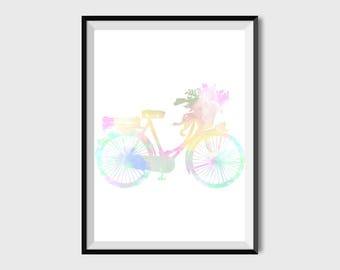 Bicycle Print Floral Watercolor Bicycle prints Hello Summer Bicycle Wall Art Printable Bike Print Nursery Decor Colorful Wall Art