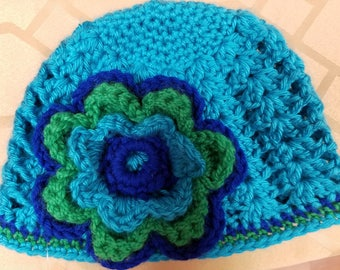 Blue/Turquoise beanie hat with flower