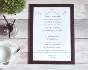 Printable Words For Your Wedding Reading | Here's To Right Now by Ms Moem
