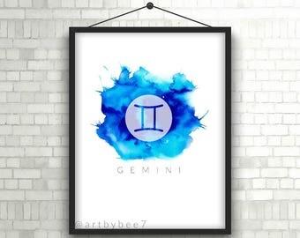 Gemini Digital Art Print, Instant Download Gemini Watercolor Print, Watercolor horoscope star sign downloadable file