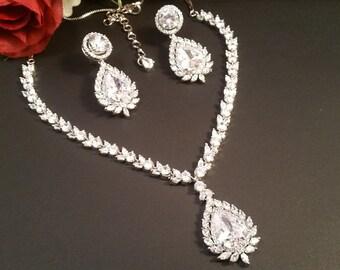 Gorgeous Cubic Zirconia Bridal Necklace set-Bridal CZ necklace set-Wedding jewellery-Tear drop set with Marquise gems-Nickel free-