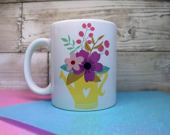 watering can mug, floral mug, boho mug, chic, watercolour, coffee mug, office mug, unique gifts, ceramic 11oz mug for him, for her, custom