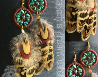 Dreamcatcher earrings Feather earrings natural feather Jewelry Feather jewelry boheme Earring Long dangle earrings brown earrings Turquoise