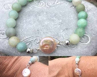 Wire Wrapped Dime Pearl and Amazonite Stretch Bracelet