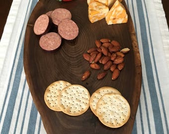 Handcrafed, Live Edge Hickory Charcuterie Board.
