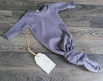 Organic Baby Boy Girl Grey Knotted Sleeping Bag | Newborn Sleep Gown | Baby Sleep Sack| Coming Home Outfit | Organic baby clothes| Baby gift
