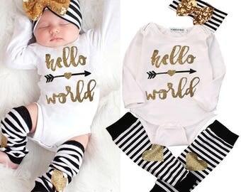Hello World Onesie, Baby Girl Hello World, Newborn Picture Outfit Girl, Hello World Outfit, Baby Leg Warmers Hello World Newborn Outfit Girl