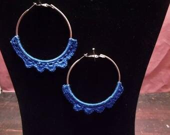 Hoop Earrings with Blue Crochet Edging
