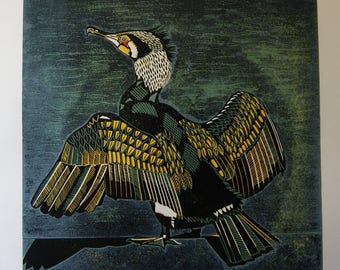 Cormorant, Original Linocut Print, Bird Perched on Quayside, Wings drying, Feathers