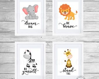 Safari Nursery Decor, Jungle Nursery Decor, Nursery Wall Art, Baby Animal Prints, Jungle Animals, Elephant Giraffe Zebra Lion Set of 4
