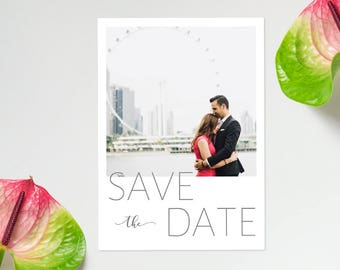 Photo Save the Date Printable Postcard, Custom Save the Date Postcard, Photo Wedding Postcard, Photo Announcement Card, DIGITAL FILE 5x7