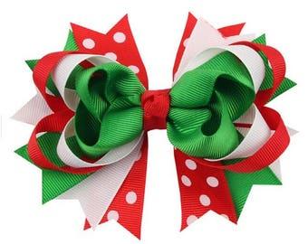 Bows Christmas Baby xmas hair clip bow photo prop Baby child holiday Christmas Bows Baby Girl Red Green Poka Dots Stripes gift
