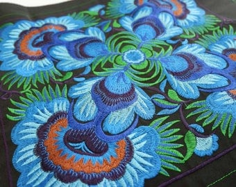 Blue Flowers DIY Piece Of Embroidered Fabric Tribal Textile Crafts