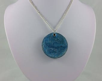 Necklace: Sweet Blue Nothings; blue resin pendant on silvery chain
