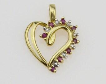10k Yellow Gold Diamond & Ruby Heart Pendant(01336)