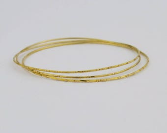 14k Yellow Gold Estate Three/tri/3 Bangle Bracelets