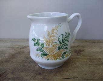 Lovely Vintage Russian porcelain milkpot with fern pattern,handpainted,stamped