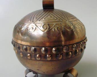 Vintage Copper trinket box,jewelry box,ring holder,storage