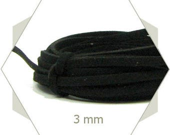 1 m cord suede 3 mm black CS12
