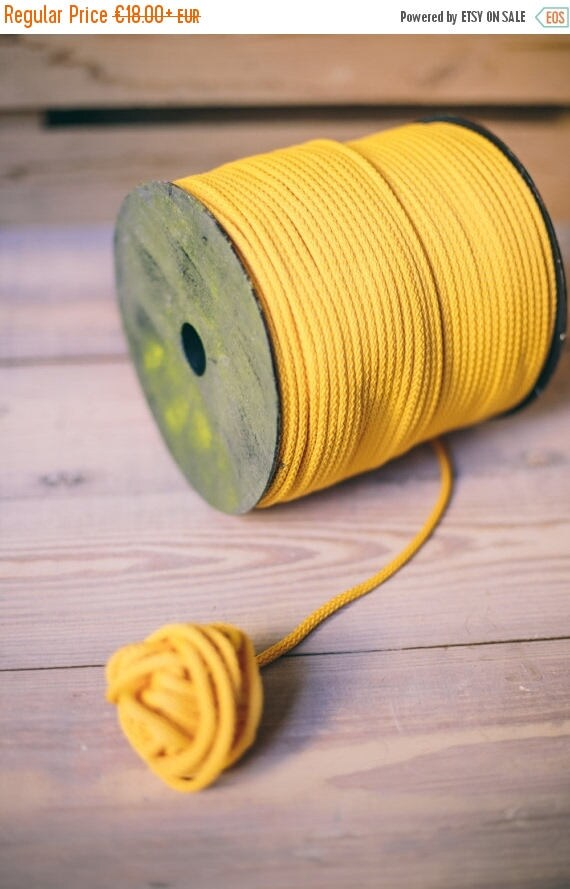 SALE 30 % Yellow yarn- polyester cord- crochet cord- crochet yarn- macrame yarn- macrame cord- crochet cord 218/328 yards or 200/300 meters-