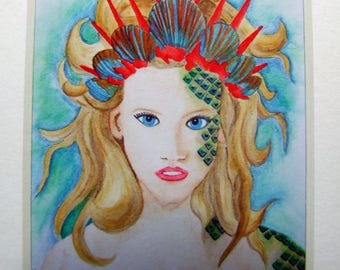 Limited Edition ACEO Print 'Mermaid' From Original Painting with Mount Signed by Artist Affordable Art Collectables ATC Ready to Frame