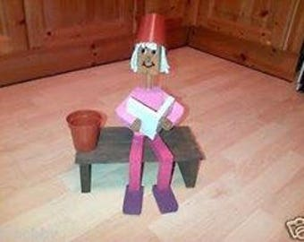 WOODEN FLOWERPOT man OR woman reading a book on a bench,garden ornament ,gift