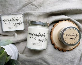 macintosh apple - hand poured soy candle