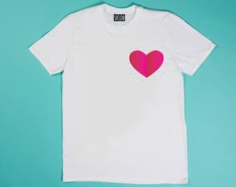 White t-shirt - Galaxy heart