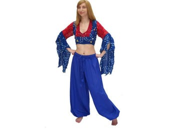 P57 Blue (Ready) Renaissance Pirate Pants Medieval Clothing Dress-up Peasant Wench Gypsy Costume Tribal ATS Belly Dance Harem Pants
