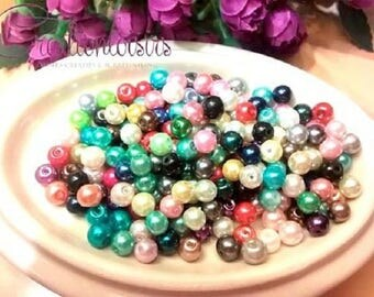 100 multicolored glass Pearl 4 mm beads
