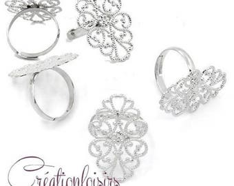 2 accessory stands of Silver Oval tray adjustable filigree ring