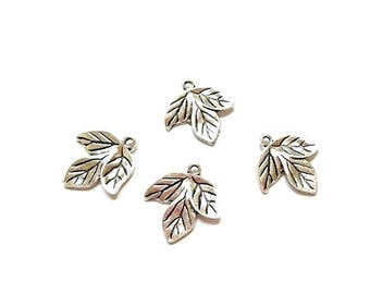 20 antique silver leaf charm