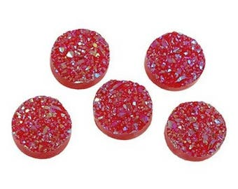 10 cabochons embellishment of Red rhinestone resin 12 mm