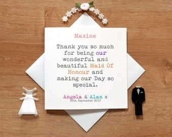 Personalised Thank You Maid Of Honour Card - Newly Wed Cards - Cute Wedding Cards -  Maid Of Honour Gifts - MOH Cards - Wedding Party