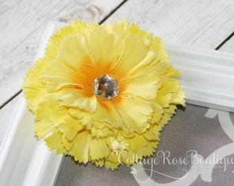 Yellow Carnation Flower Hair Clip, Hair Clip, Shabby Chic, Yellow Flower Clip, Hair Flower, Flower Hair Accessories, Flower Girl Hair Piece