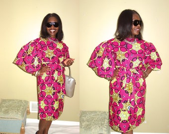 Clothing, Women's Clothing, African Dress, Pink Dress, Midi Dress, African Clothing, Robe Wax, Jupe Wax, Ankara Dress