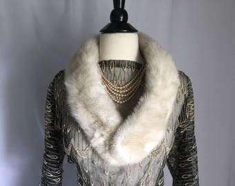 40's 50's Gray Mink Collar/Scarf Gorgeous Color VLV
