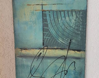 Acrylic art acrylic painting abstract mixed media 30 x 40 cm turquoise original