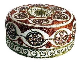 Boys Kufi koofi Kufi Hat Men kofi Topi Embroidery Cap Muslim Islam Green Rust 1