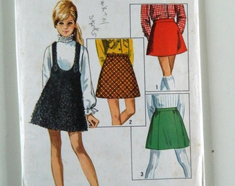 Simplicity Girl Size 14 Vintage Sewing Pattern 8306 Childs and Girls Skirts and Jumper 1960s