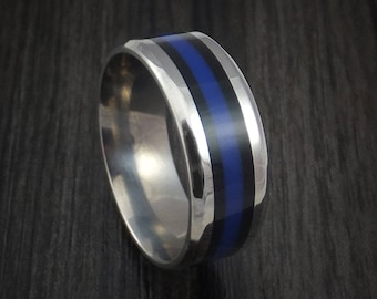 Titanium thin blue line police ring custom made band any size