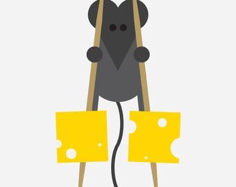 Mouse on stilts (A3 giclee print)