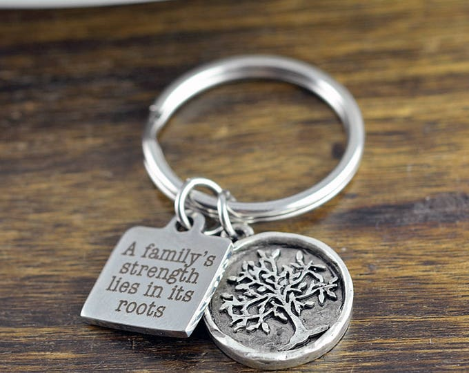 Family Keychain Personalized - Family Key chain - Family Roots Quote - Family Tree Keychain - Grandma Gifts,Gifts for Grandma, Grandma Gift