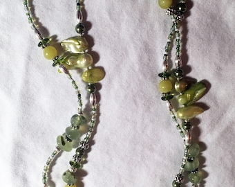 """34"""" Green Mother of Pearl Boho Necklace"""
