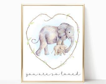 Elephant Nursery Art. Elephant Nursery Decor. Watercolor Elephant Print. You Are So Loved. Gender Neutral Nursery Elephant Nursery Printable