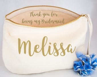 Personalised Soft Pastel Will You Be My Bridesmaid Make Up Bag, Wedding Gifts, Bridesmaid and Maid of Honour Gifts, Cosmetic Bags and Purse