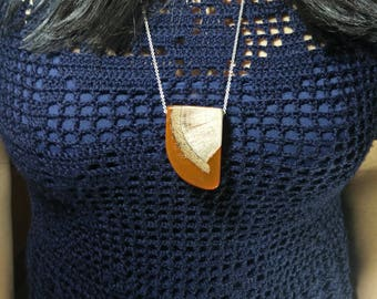 Wood Resin Pendant, Made in Italy, Handmade Necklace, Dente di Lava, Unique piece, Wood resin jewelry, Handmade Jewelry
