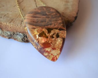 Wood Resin Pendant, Made in Italy, Handmade Necklace, B.Colors n.4, Unique piece, Wood resin jewelry, Handmade Jewelry